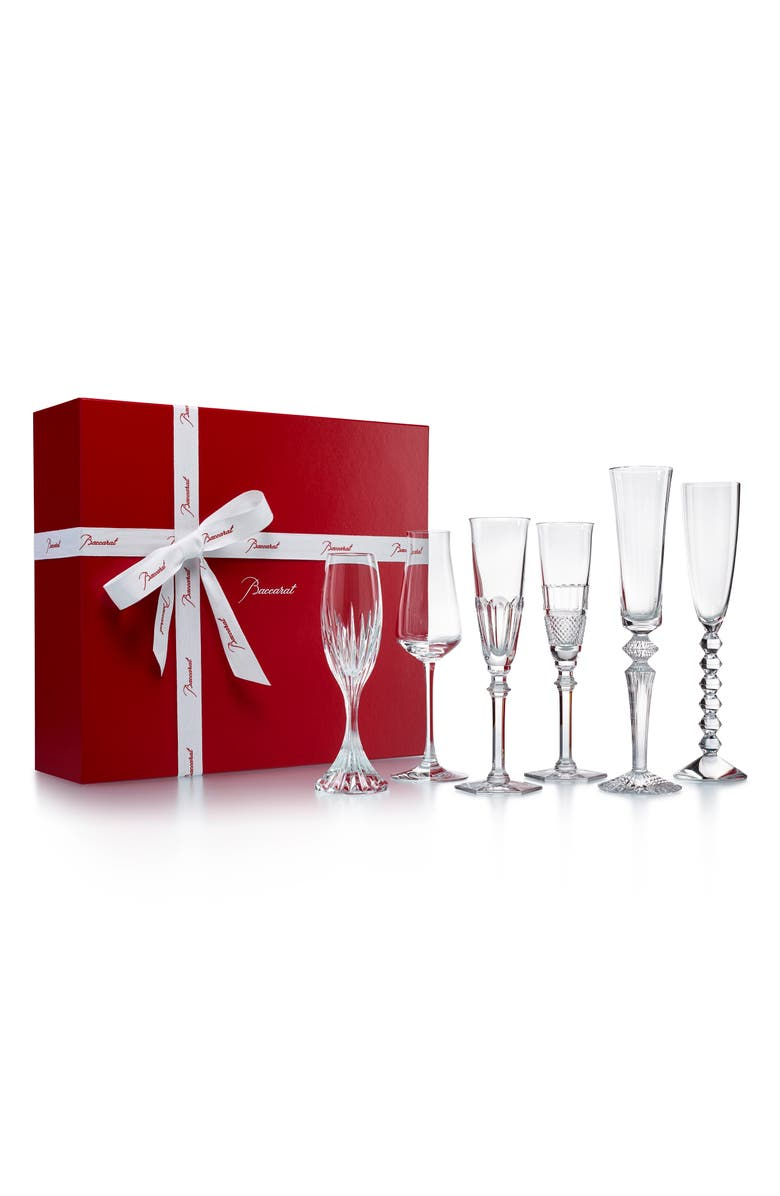 BACCARAT Bubbles in a Box Lead Crystal Champagne Set, Main, color, CLEAR
