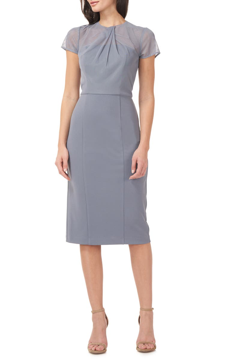 JS COLLECTIONS Illusion Lace Short Sleeve Cocktail Dress, Main, color, SLATE BLUE