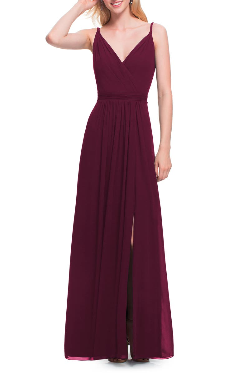 #LEVKOFF Surplice Neck Chiffon A-Line Gown, Main, color, WINE