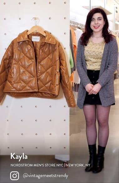 Jacinda Quilted Faux Leather Crop Jacket, sales video thumbnail