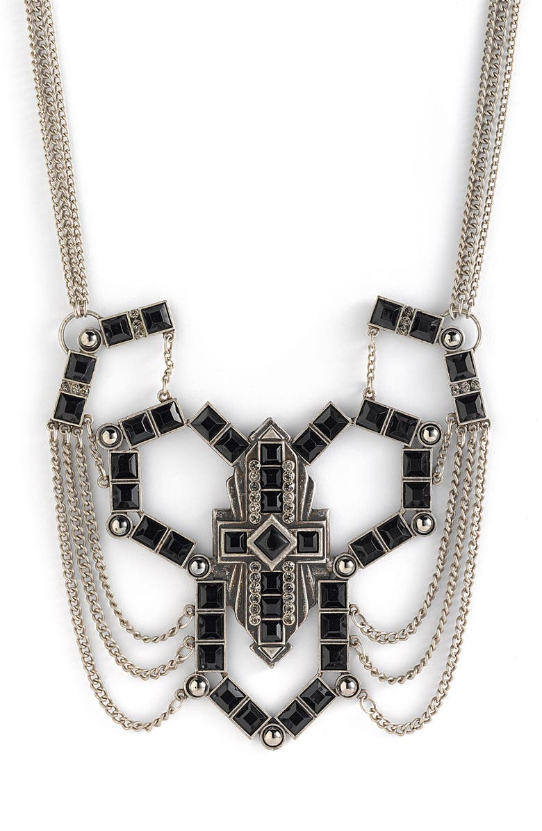 JEWELRY FASHIONS 'Deco' Statement Necklace, Main, color, 001