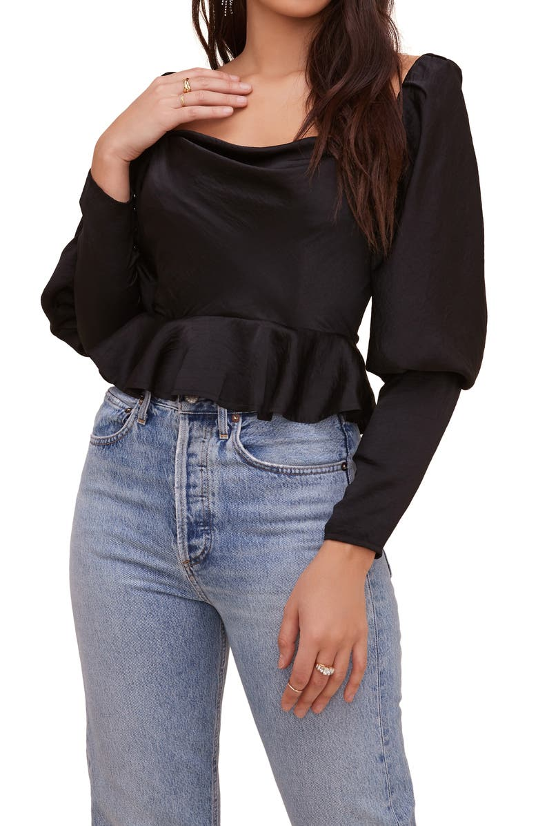 ASTR THE LABEL Mutton Sleeve Top, Main, color, BLACK