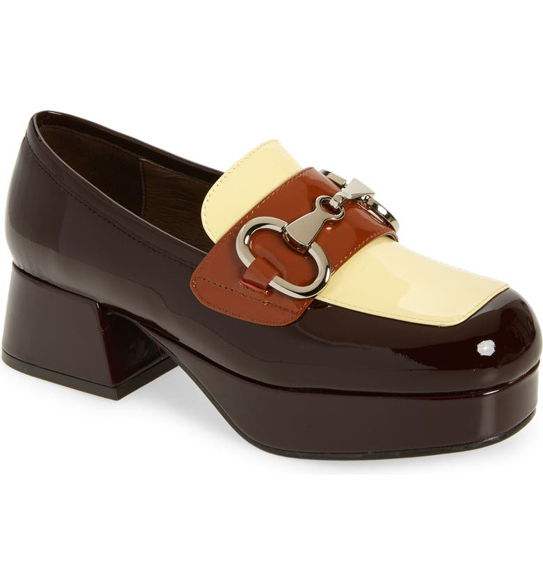 JEFFREY CAMPBELL Student Platform Loafer, Main, color, BROWN YELLOW TAN PATENT COMBO