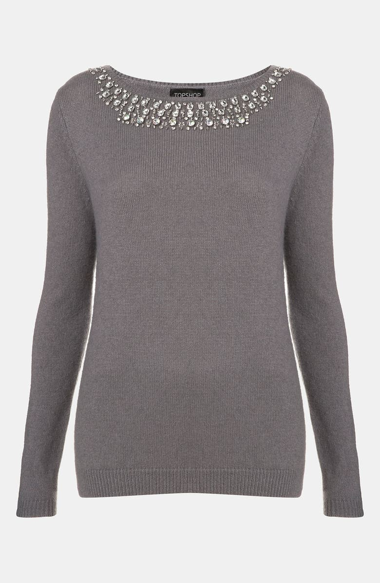 TOPSHOP Necklace Sweater, Main, color, 020