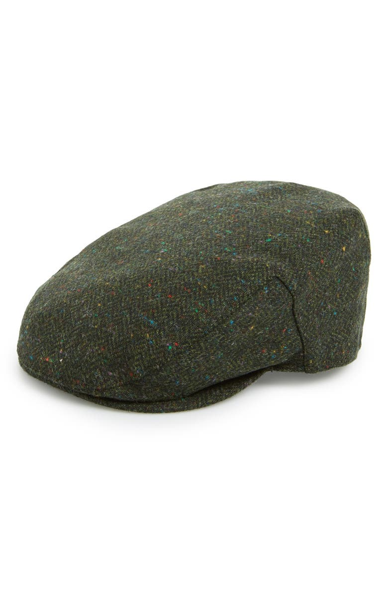 BARBOUR 'Moons' Tweed Driving Cap, Main, color, OLIVE