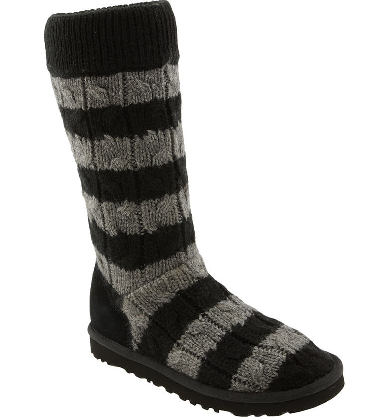 UGG<SUP>®</SUP> Australia 'Classic Tall' Stripe Cable Knit Boot, Main, color, 015
