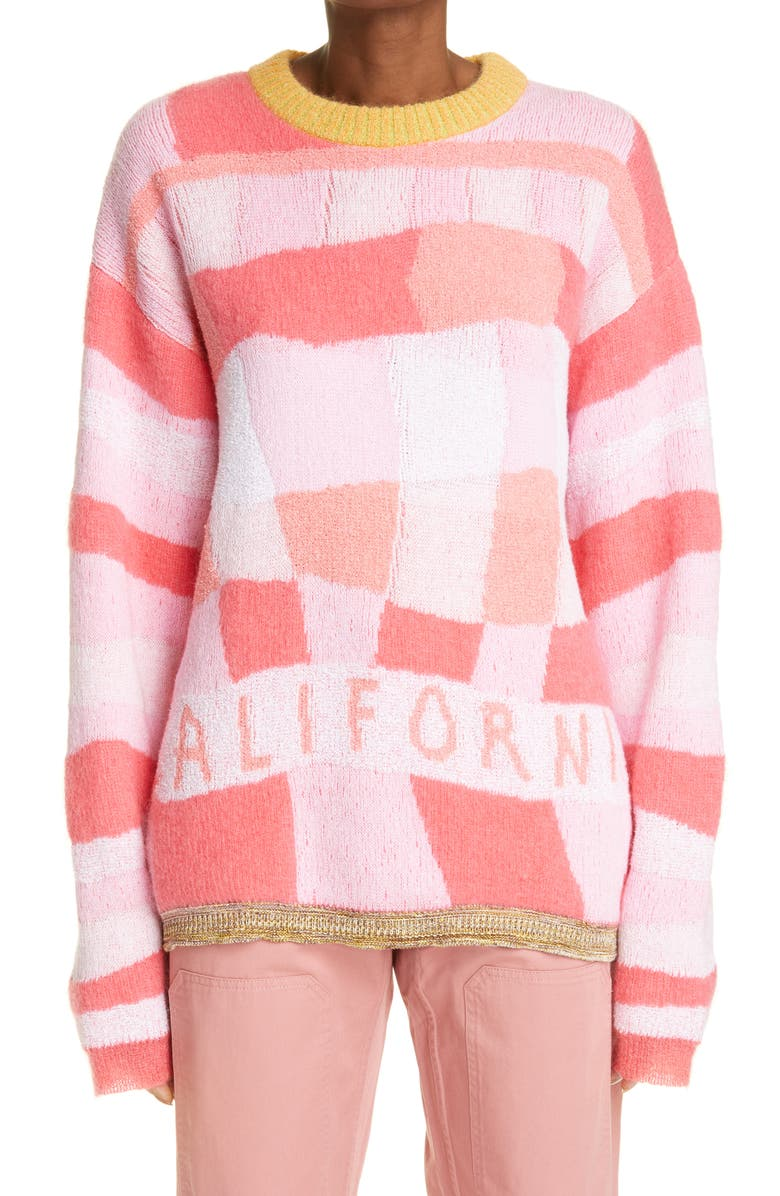 ERL California Cotton Blend Sweater, Main, color, PINK