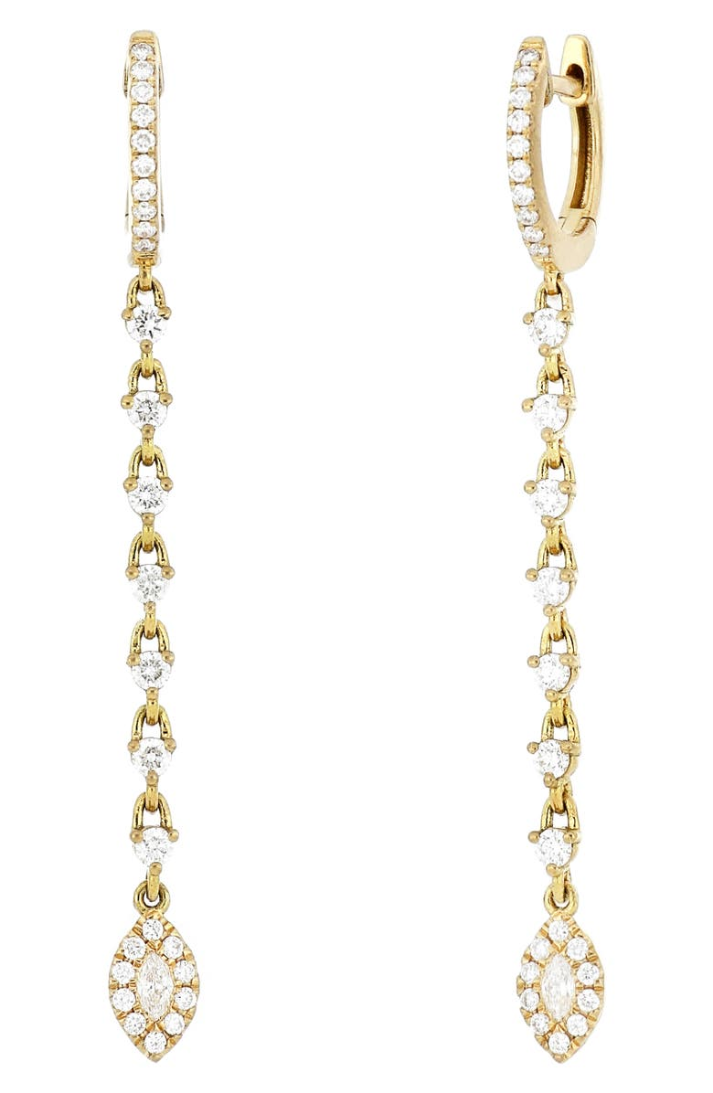 BONY LEVY Marquis Diamond Linear Huggie Earrings, Main, color, YELLOW GOLD