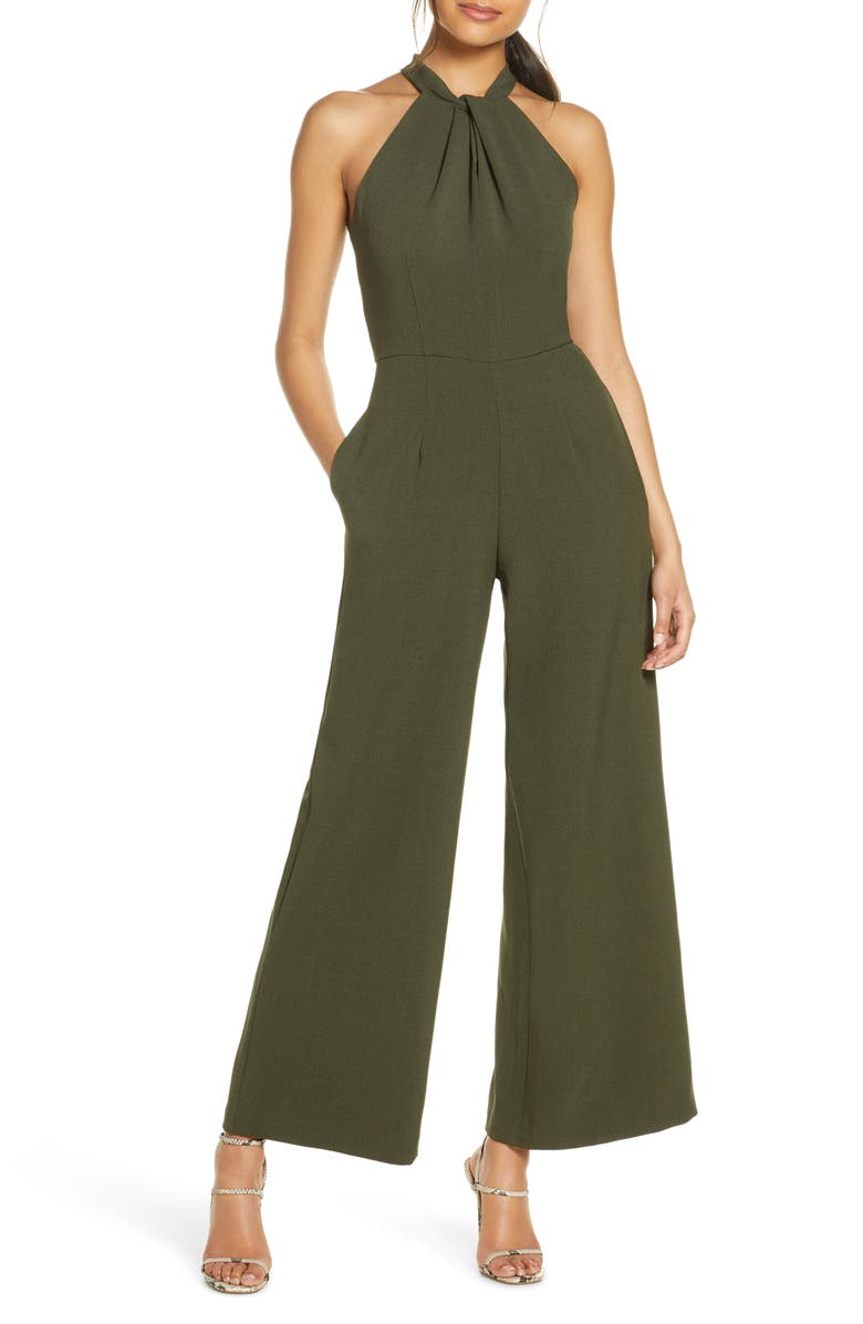JULIA JORDAN Halter Neck Jumpsuit, Main, color, OLIVE