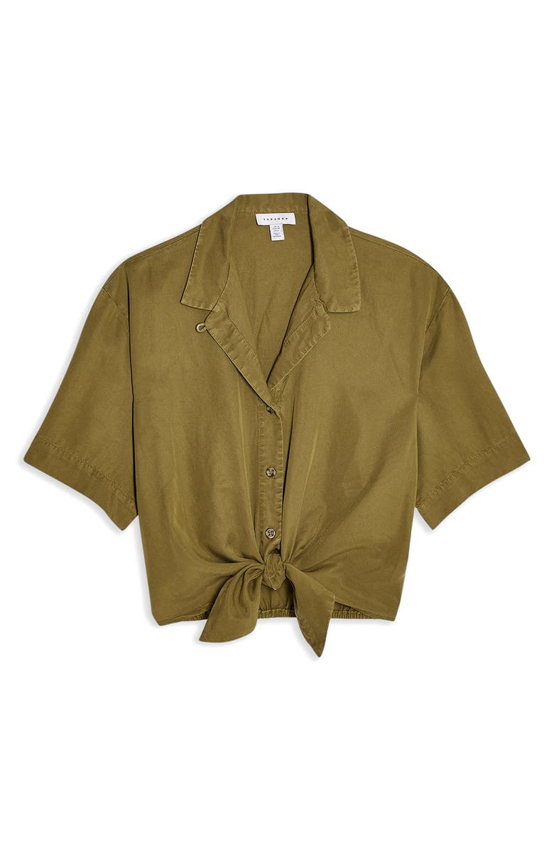 TOPSHOP Demi Casual Knot Front Button-Up Shirt, Main, color, OLIVE