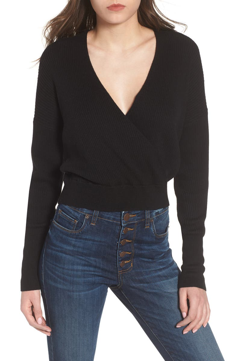 LEITH Rib Wrap Sweater, Main, color, 001