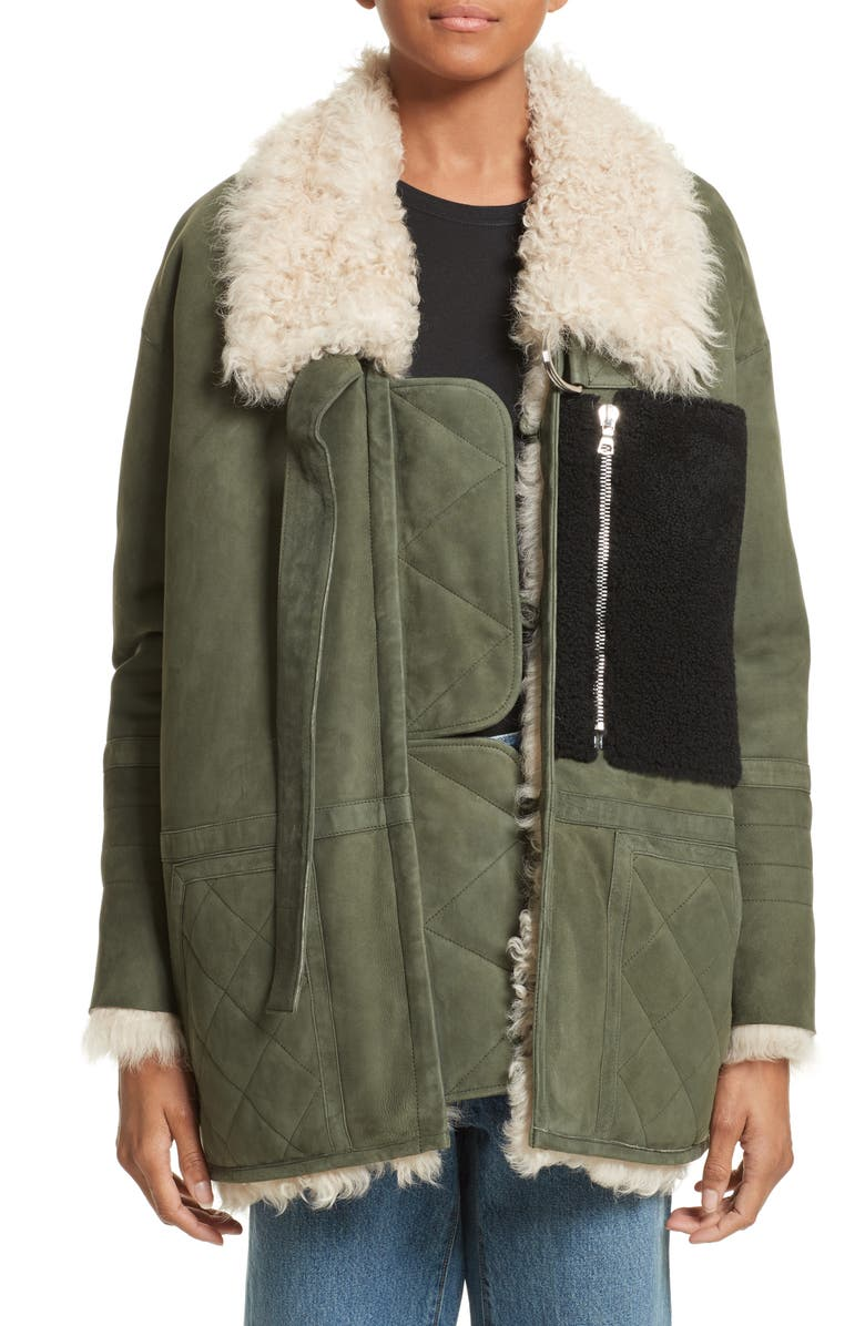 SANDY LIANG Ines Suede & Genuine Shearling Coat, Main, color, 310