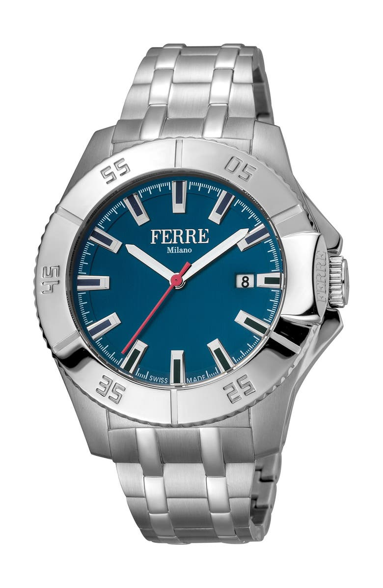 FERRE MILANO Men's Stainless Steel Watch, 45mm, Main, color, SILVER