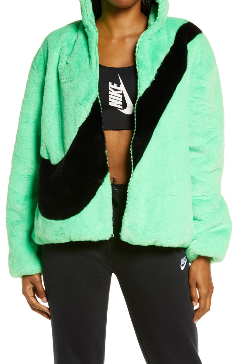 NIKE Sportswear Faux Fur Jacket, Main, color, POISON GREEN/ BLACK
