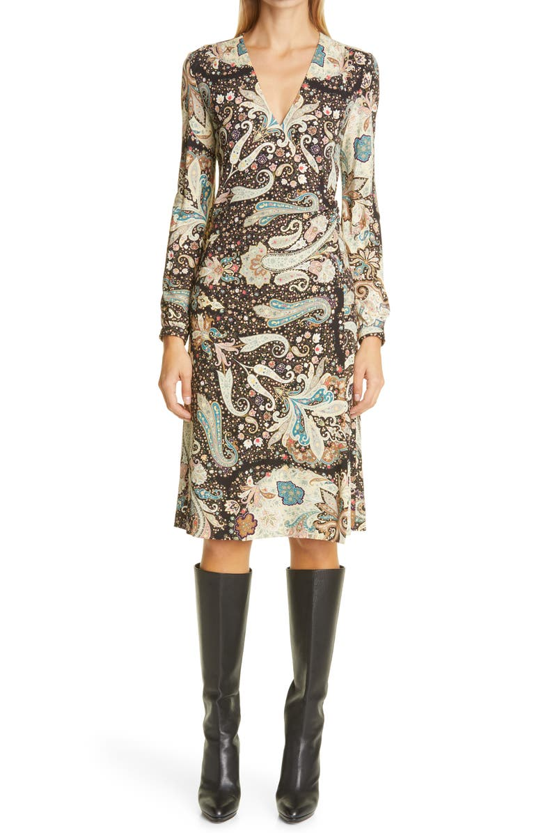 ETRO Long Sleeve Jersey Wrap Dress, Main, color, 001