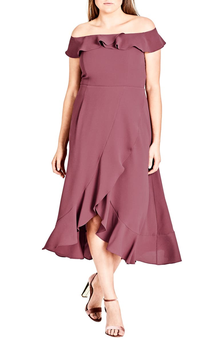CITY CHIC Off the Shoulder Ruffle High/Low Dress, Main, color, ROSE