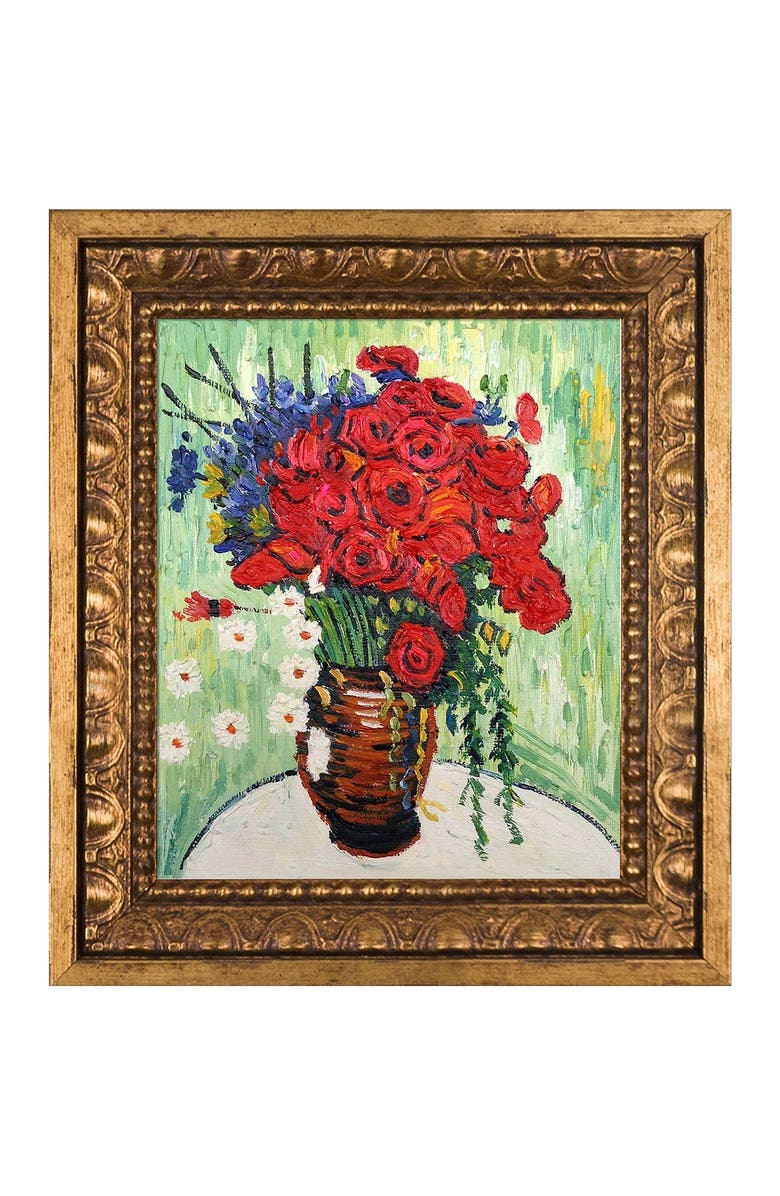 """OVERSTOCK ART Vase with Daisies and Poppies Framed Oil Reproduction of an Original Painting by Vincent Van Gogh - 11""""x13"""", Main, color, MULTI"""
