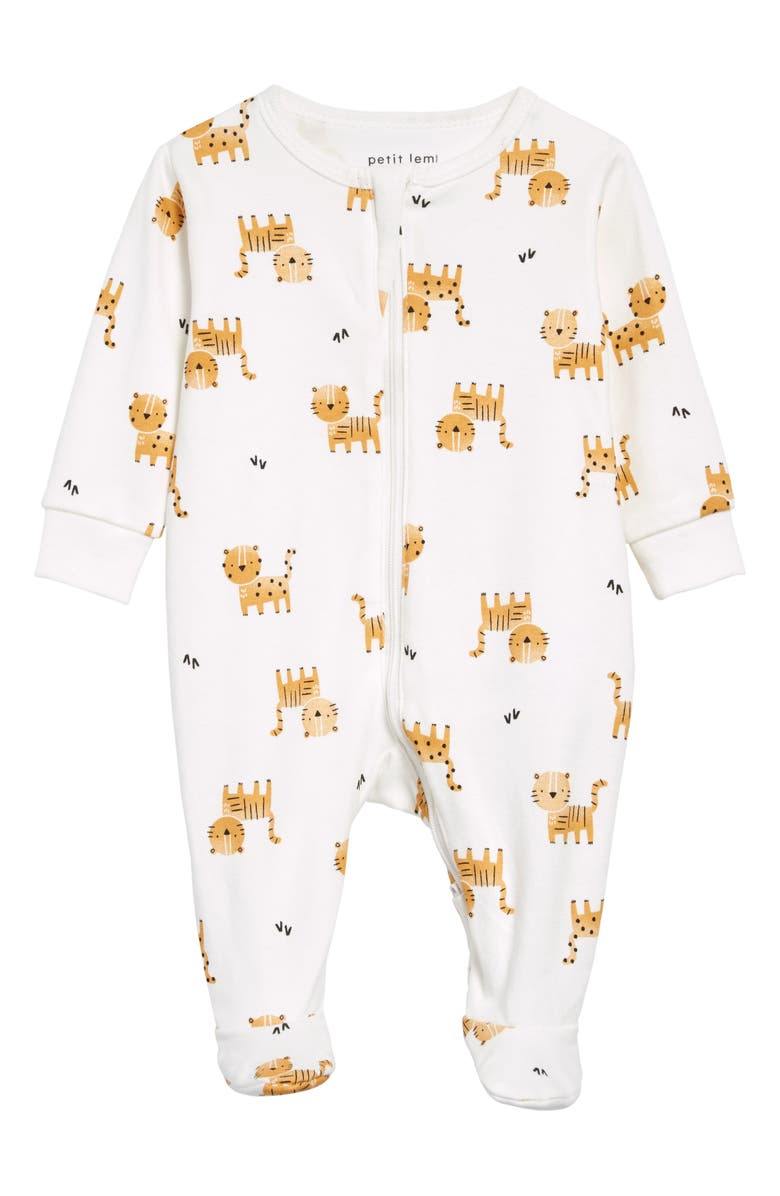 PETIT LEM Tiger Print Fitted Organic Cotton One-Piece Pajamas, Main, color, OFF WHITE