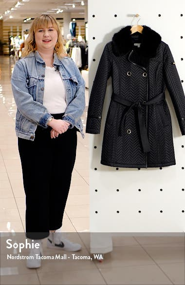 Water Resistant Double Breasted Faux Fux Collar Quilted Coat, sales video thumbnail