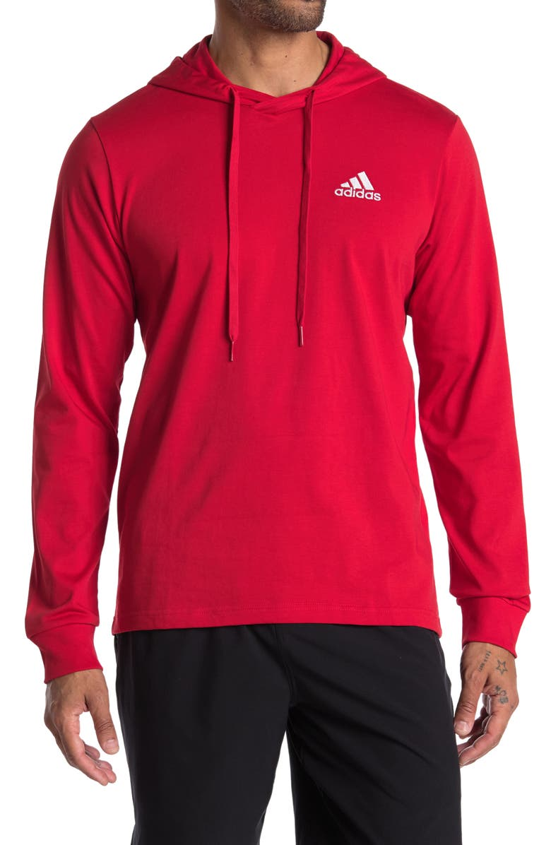 ADIDAS Essentials Small Logo Hoodie, Main, color, SCARLET/WHITE