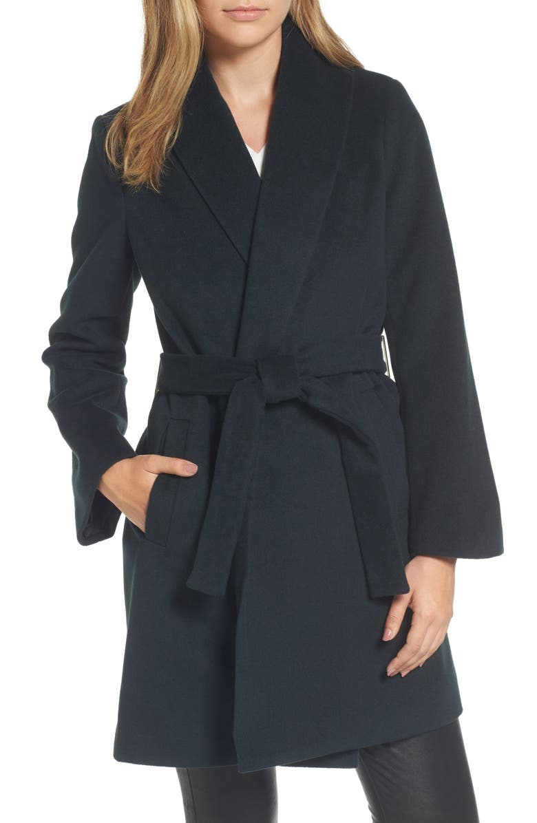 TAHARI Gabrielle Wool Blend Long Wrap Coat, Main, color, 354