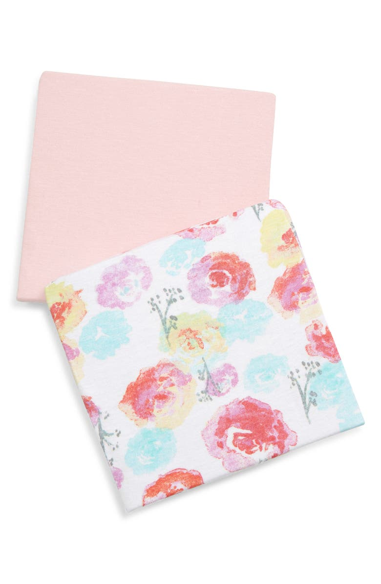 THE HONEST COMPANY Honest Baby 2-Pack Organic Cotton Changing Pad Covers, Main, color, ROSE BLOSSOM/ PINK