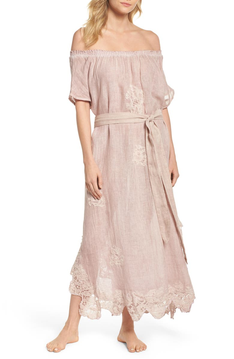 MUCHE ET MUCHETTE Daisy Linen Cover-Up Dress, Main, color, 000