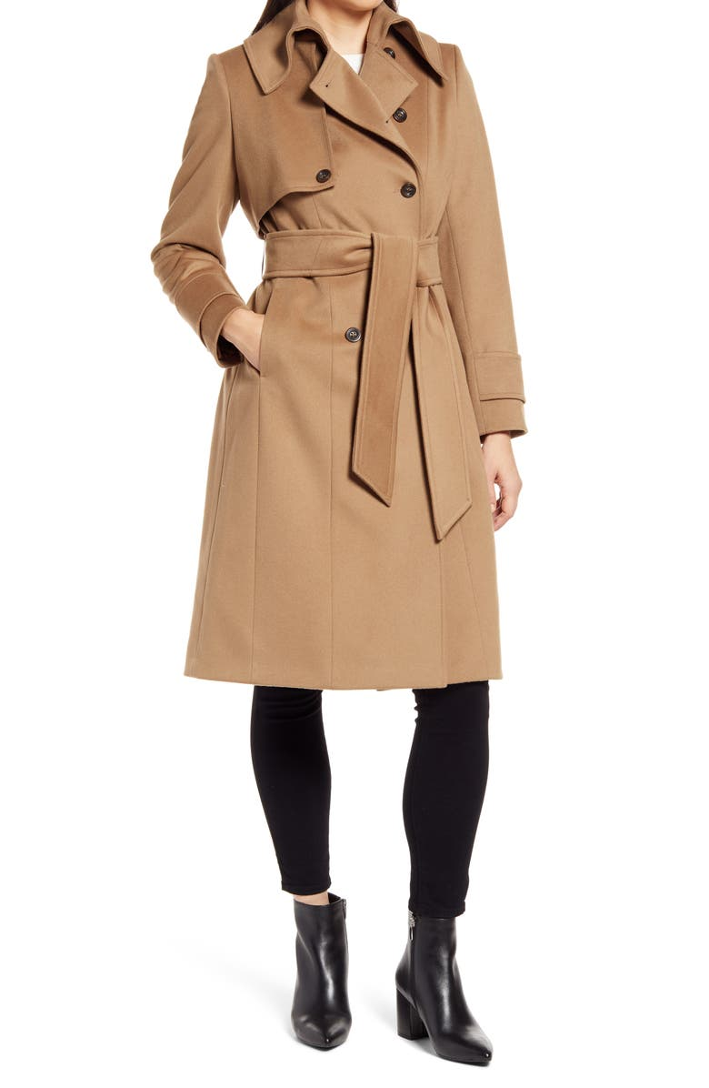 HISO Double Breasted Belted Wool Hooded Coat, Main, color, VICUNA