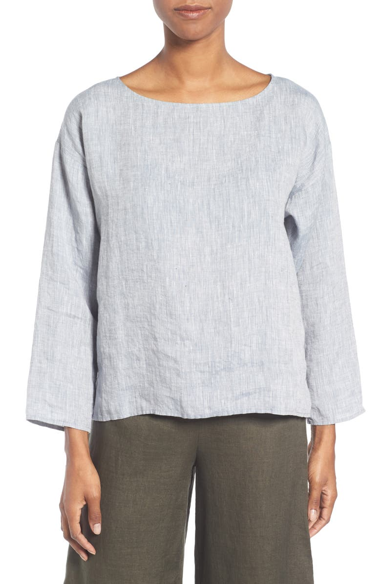 EILEEN FISHER Organic Linen Top, Main, color, CHAMBRAY