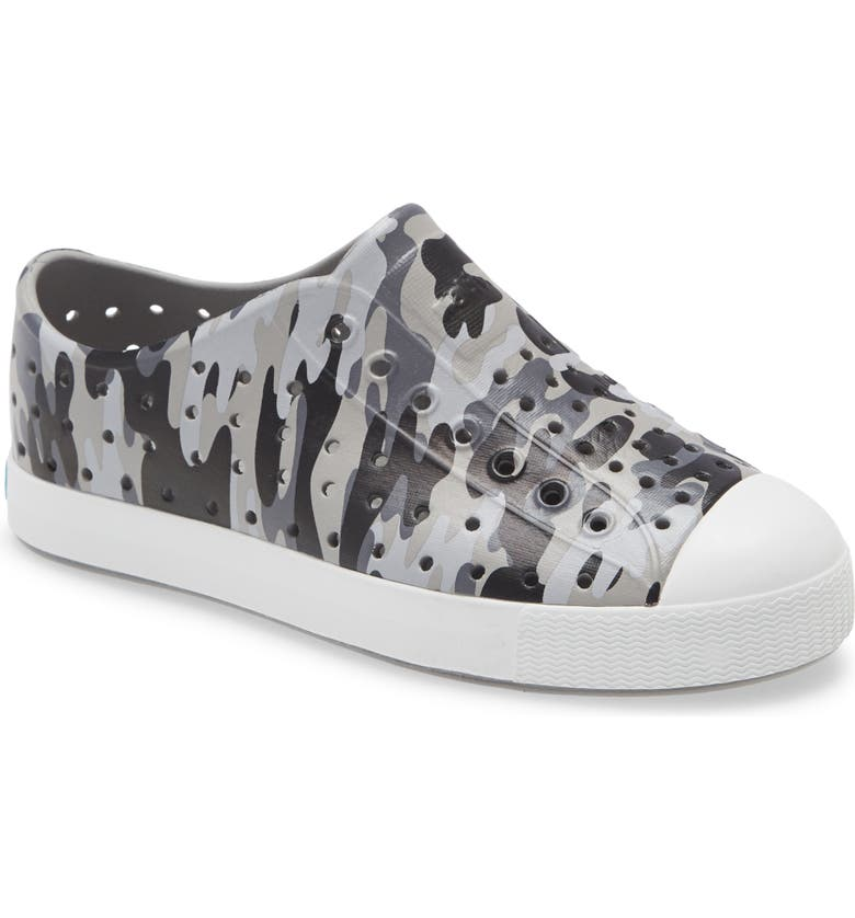 NATIVE SHOES Jefferson Water Friendly Perforated Slip-On, Main, color, PIGEON GREY/SHELL WHITE/CAMO