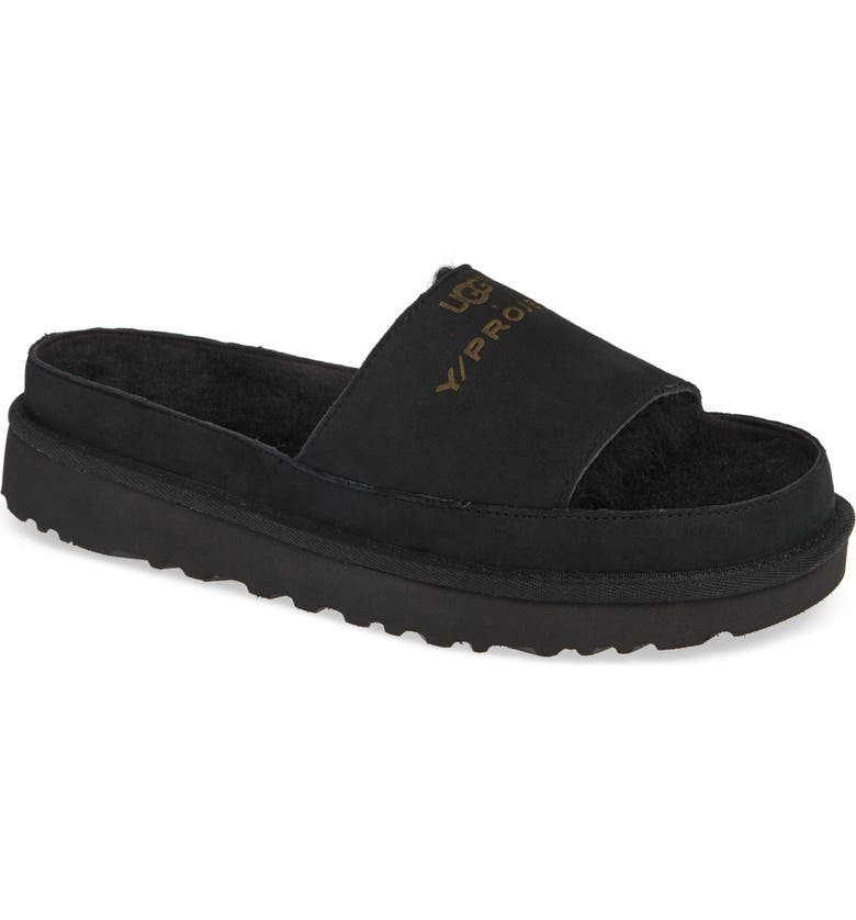 Y/PROJECT x UGG<sup>®</sup> Genuine Shearling Slide Sandal, Main, color, 001