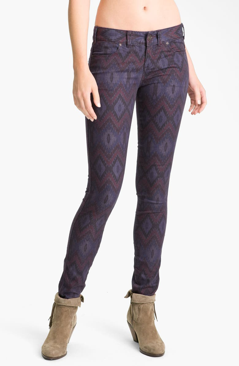 FREE PEOPLE Ikat Print Skinny Jeans, Main, color, 500