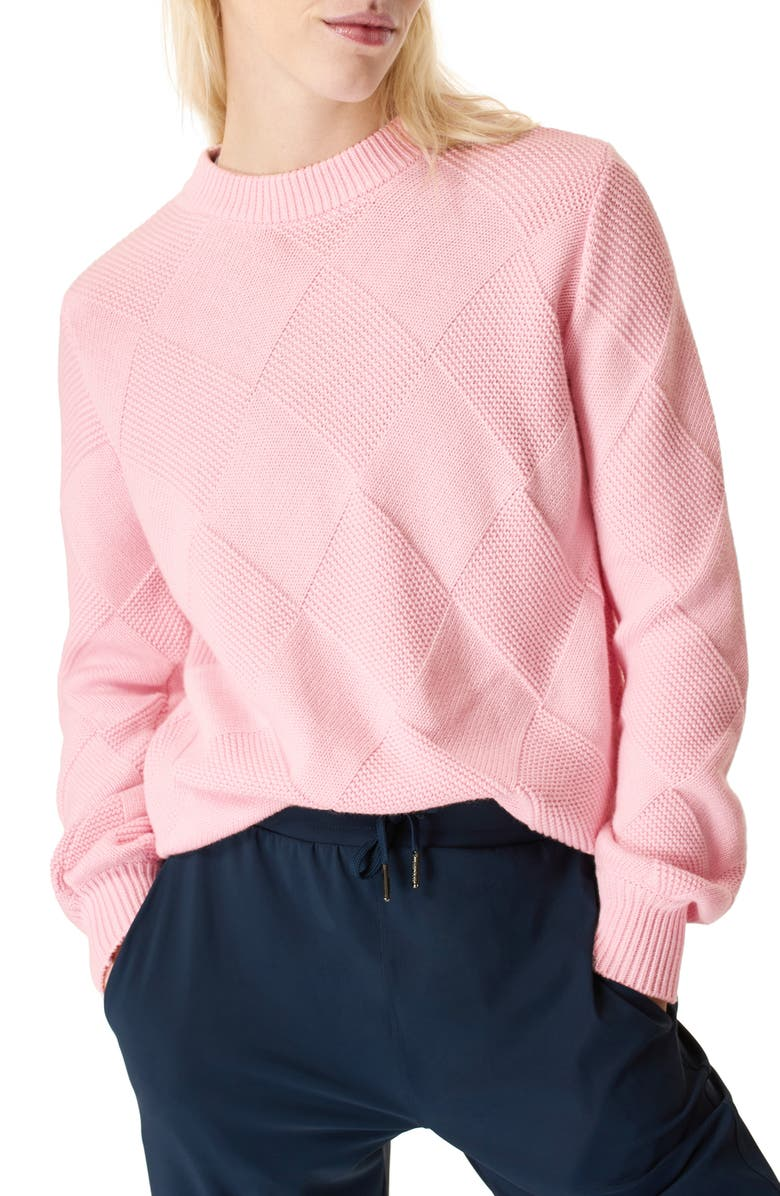 SWEATY BETTY Diamond Knit Cotton & Wool Sweater, Main, color, NERINE PINK