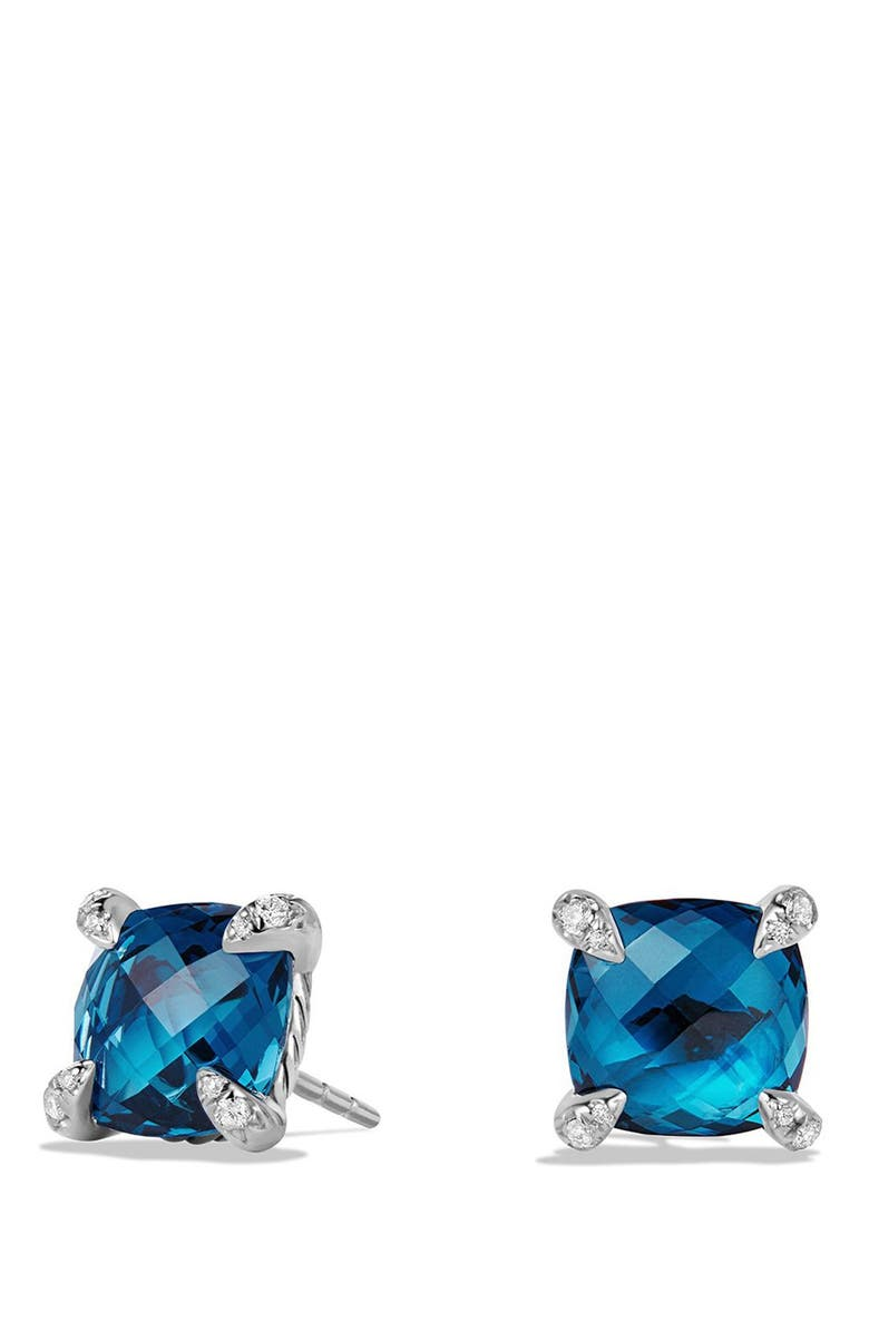 DAVID YURMAN Châtelaine Earrings with Semiprecious Stones and Diamonds, Main, color, SILVER/ HAMPTON BLUE TOPAZ