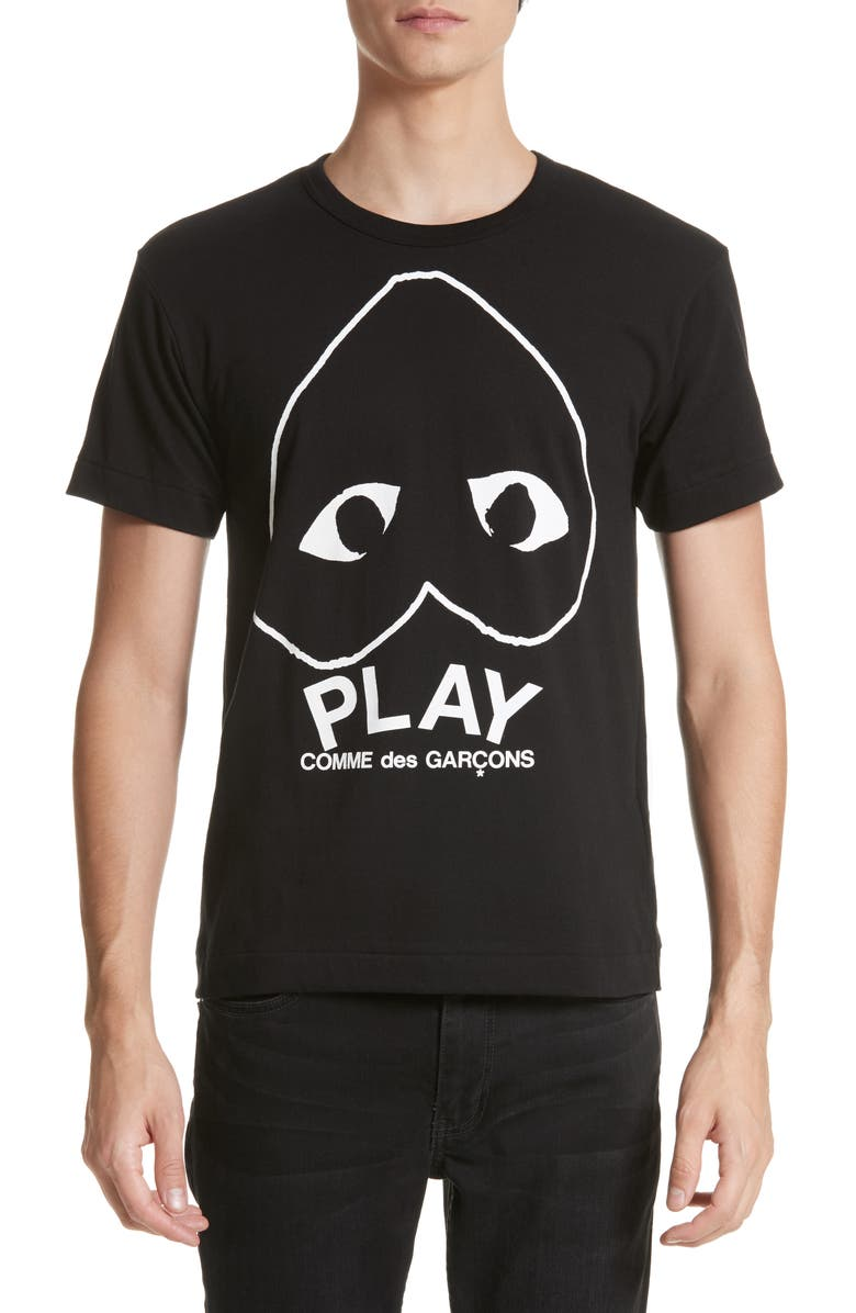 COMME DES GARÇONS PLAY Inverted Heart Logo Graphic Tee, Main, color, 002