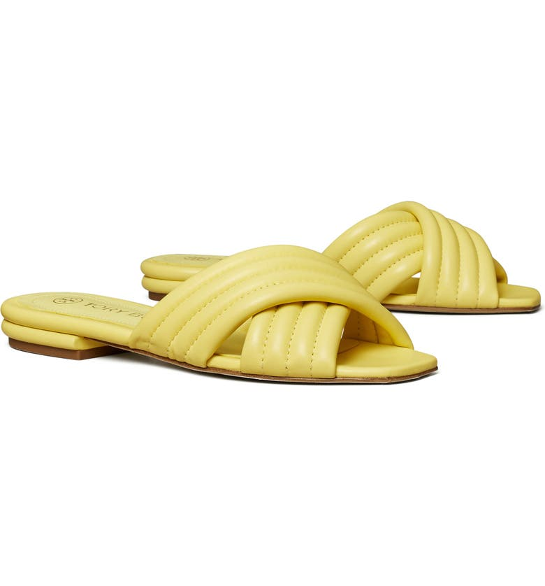 TORY BURCH Kira Quilted Slide Sandal, Main, color, BUTTER YELLOW