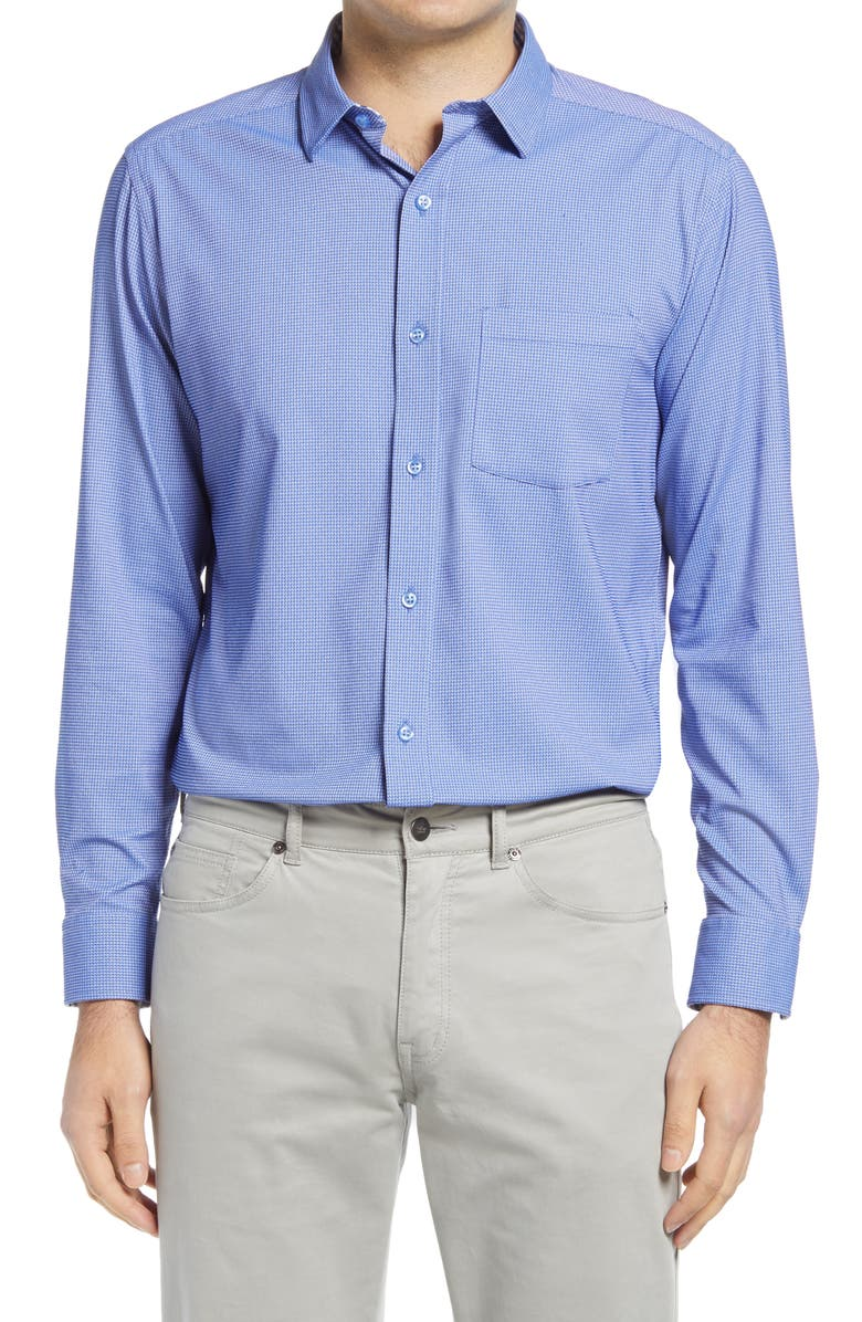 JOHNSTON & MURPHY XC4 Performance Button-Up Shirt, Main, color, BLUE TWISTED ROPE