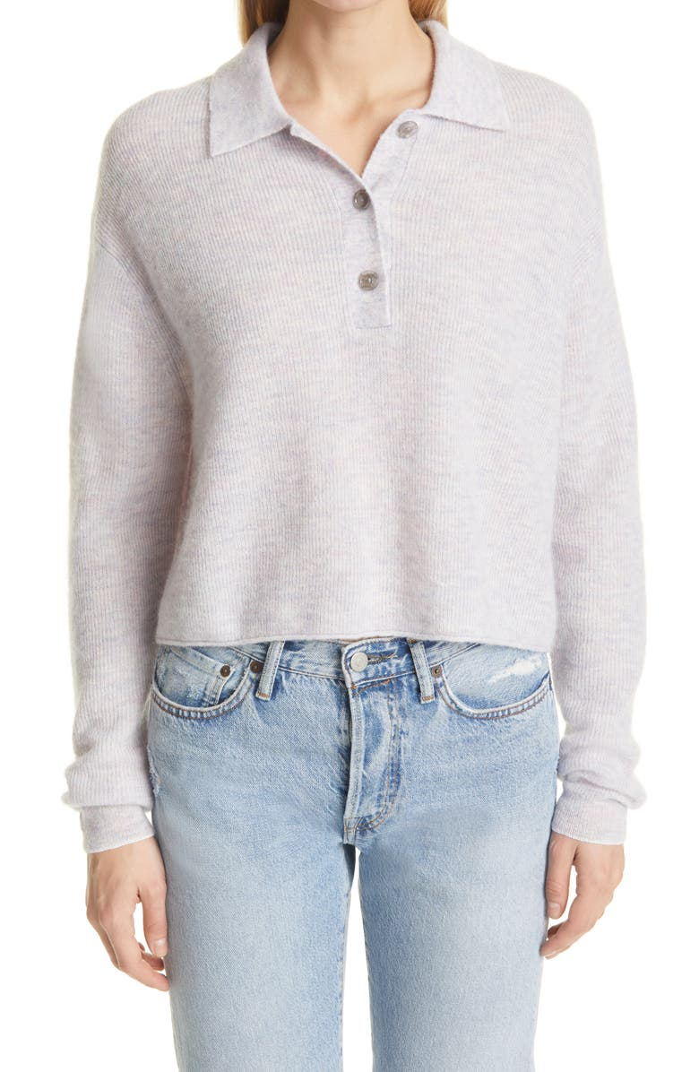 ACNE STUDIOS Kelania Ribbed Polo Sweater, Main, color, PALE PINK MELANGE