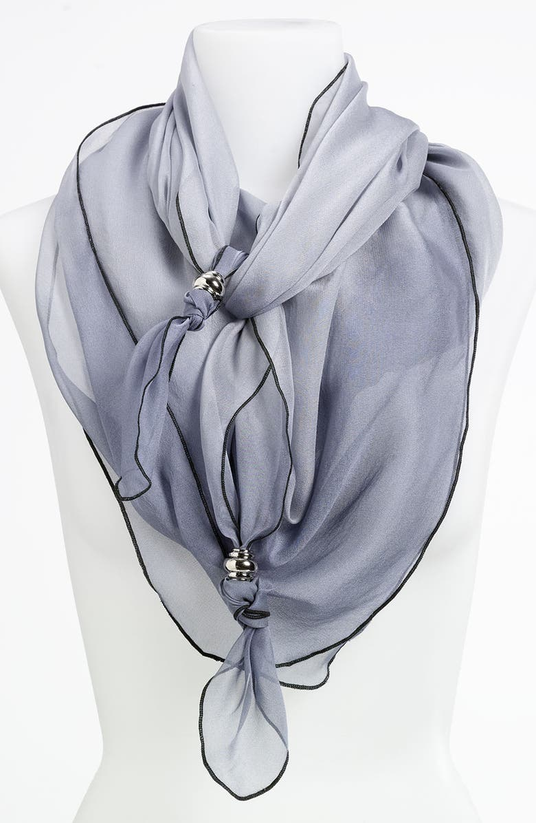 MAKE + MODEL Ombré Silk Scarf, Main, color, SILVER CHARCOAL