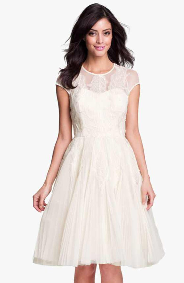 TED BAKER LONDON 'Miyaa' Embroidered Mesh Fit & Flare Dress, Main, color, 900