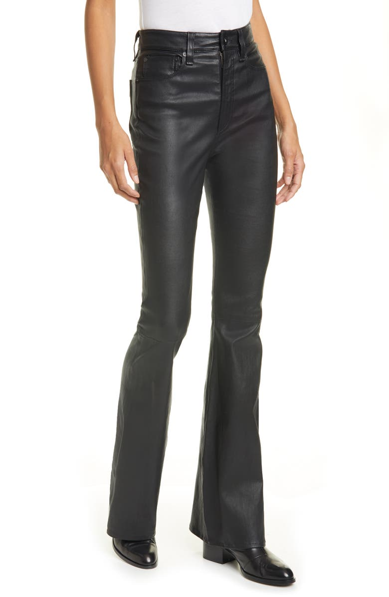 RAG & BONE Jane Super High Waist Leather Flare Pants, Main, color, 001