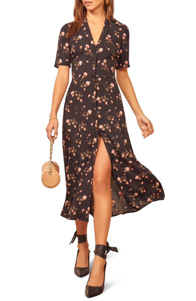 REFORMATION Rocki Floral Print Shirtdress, Main, color, 001