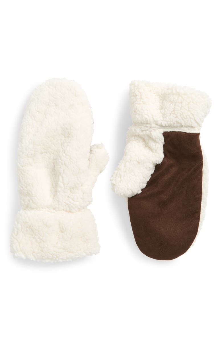 TREASURE & BOND Faux Shearling Mittens, Main, color, 270
