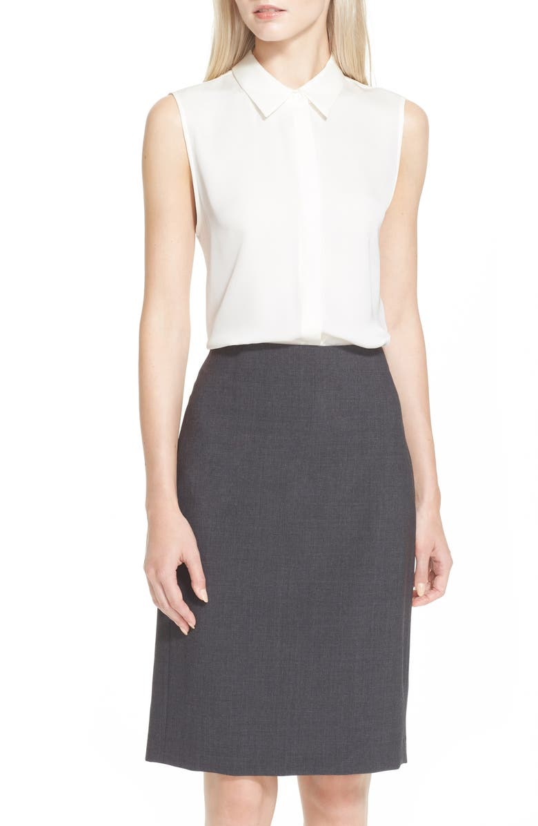 THEORY Tanelis Georgette Top, Main, color, IVORY