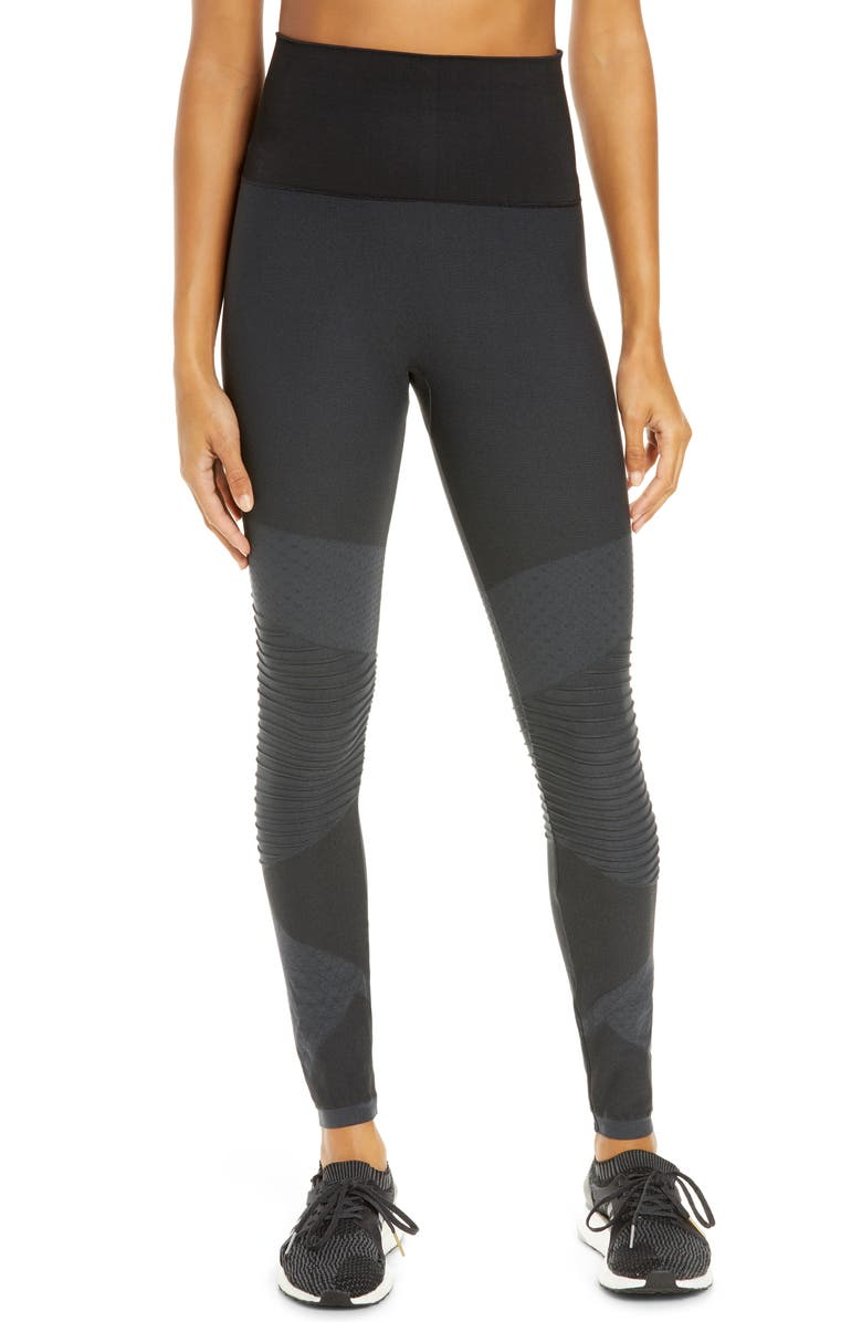 SPANX<SUP>®</SUP> SPANX Look at Me Now Seamless Moto Leggings, Main, color, VERY BLACK