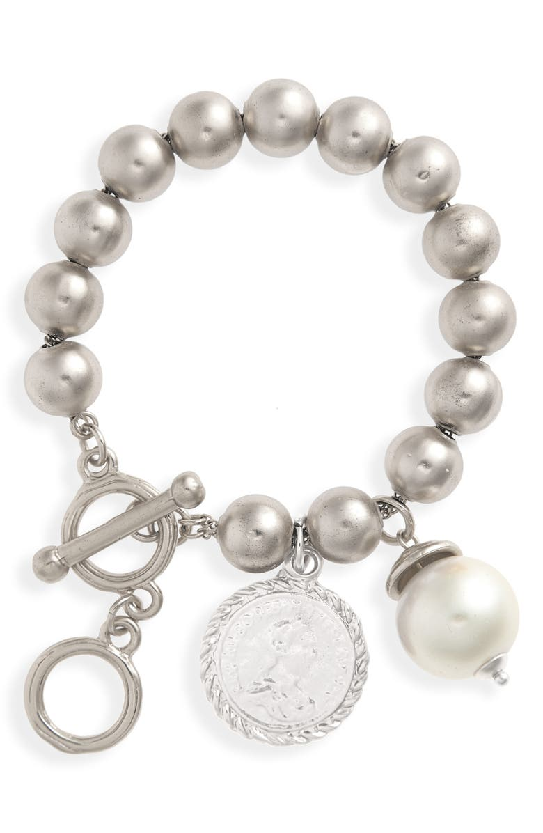 KARINE SULTAN Coin & Pearl Ball Chain Bracelet, Main, color, Silver