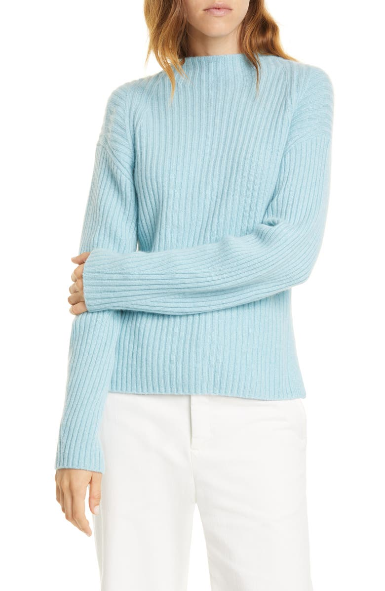 VINCE Ribbed Mock Neck Wool & Cashmere Sweater, Main, color, 480