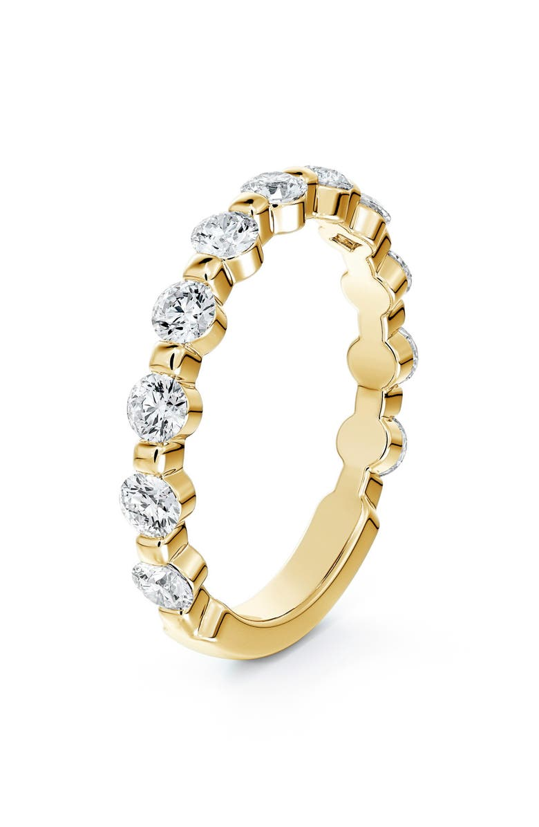 FOREVERMARK Engagement & Commitment Single Shared Prong Diamond Band, Main, color, YELLOW GOLD