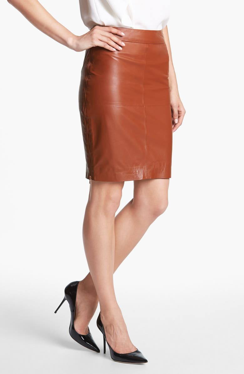TRINA TURK 'Sydney' Leather Skirt, Main, color, 200