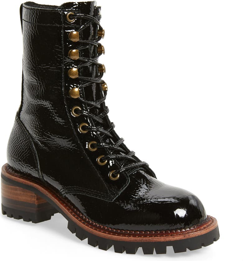JEFFREY CAMPBELL Sycamore Patent Leather Boot, Main, color, BLACK CRINKLE PATENT LEATHER